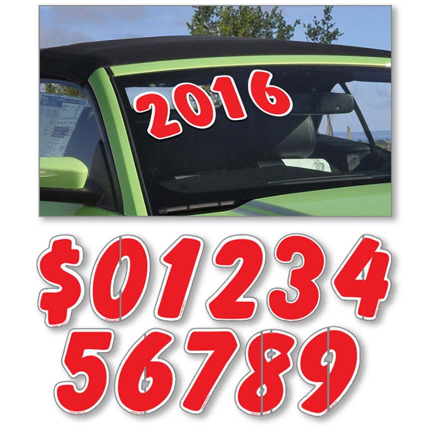 Designer Cut Peel & Stick Windshield Numbers - Red