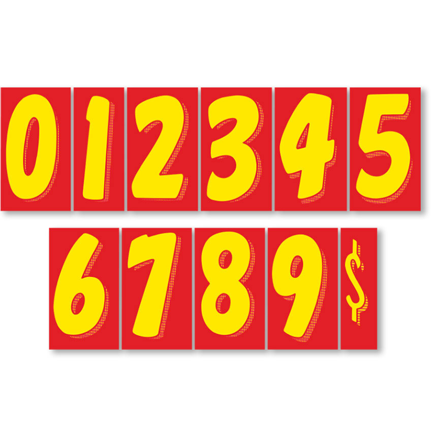 """7.5"""" Peel & Stick Windshield Pricing Numbers - Red & Yellow"""