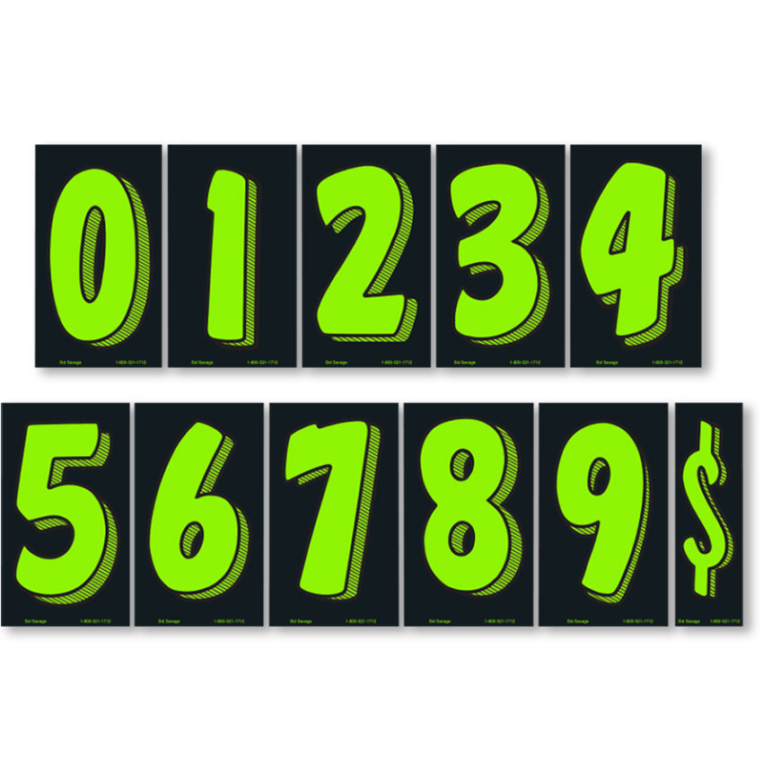 """7.5"""" Windshield Pricing Numbers Kit - Chartreuse & Black"""