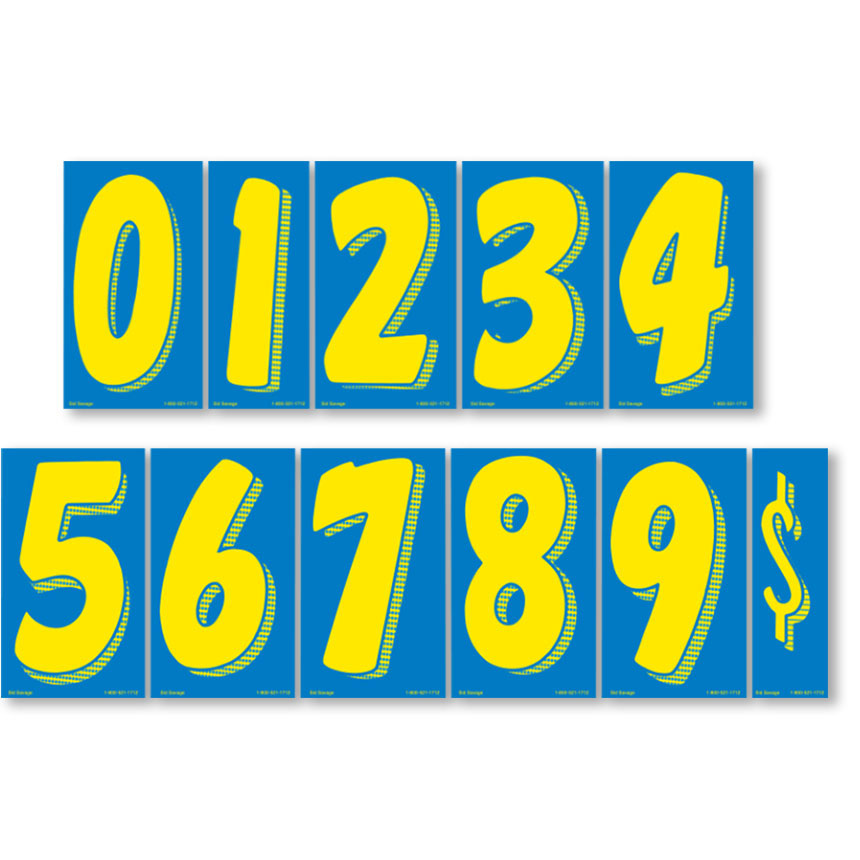 """7.5"""" Windshield Pricing Numbers Kit - Blue & Yellow"""