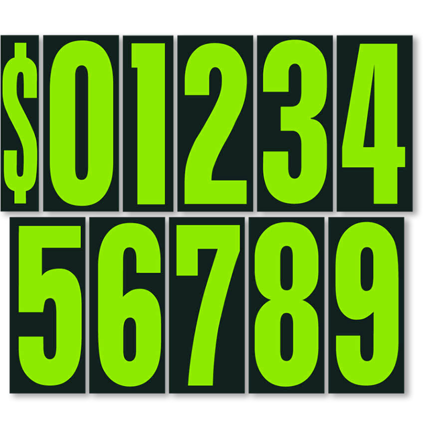 "9.5"" Windshield Pricing Numbers - Chartreuse & Black"