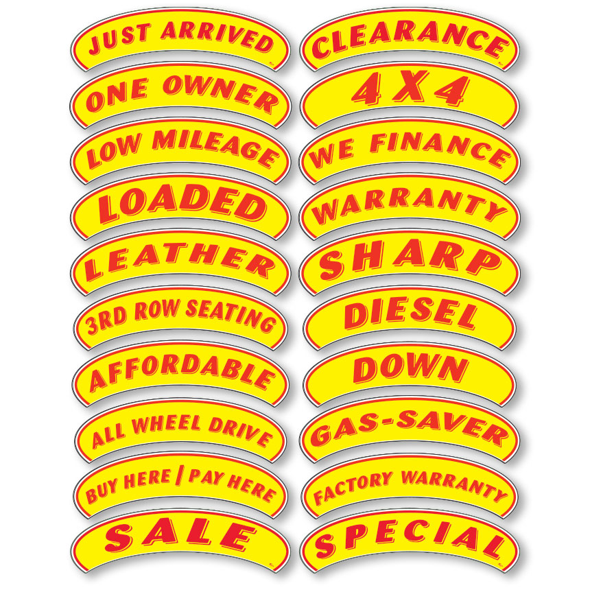 Arch Stickers with Messages - Red & Yellow