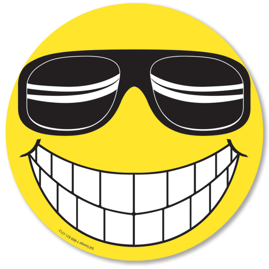 Happy Face w/ Sunglasses Windshield Stickers | Auto Dealer Advertising