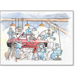 Automotive Postcard Response - Strong Man Car Lift