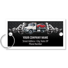 Personalized Full-Color Key Tags - Flatbed Tow Truck