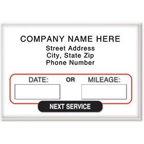 Custom Static Cling Oil Change Sticker Reminders - Version 3