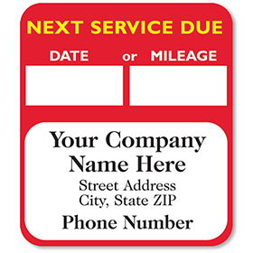 High-Visibility Service Stickers - Next Service Due (Red) - 500