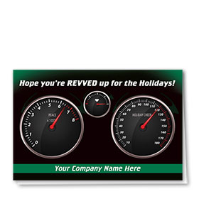 Double Personalized Full Color Holiday Card-Revved Up