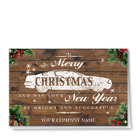 Double Personalized Full Color Holiday Card-Weathered Wishes