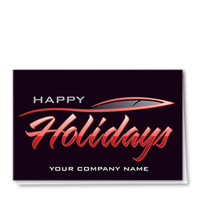 Double Personalized Full Color Holiday Card- Streamline Greeting