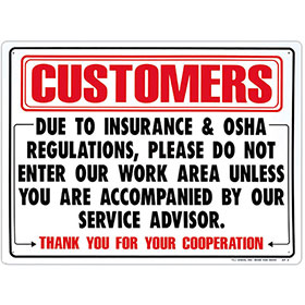 """Office Signs – 24"""" x 18"""" Customers"""