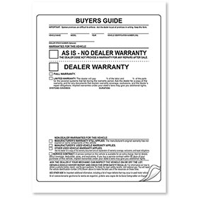 3-Part Complete Seal As-Is Car Buyers Guide