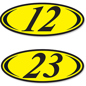 2-Digit Oval Car Year Stickers - Black & Yellow