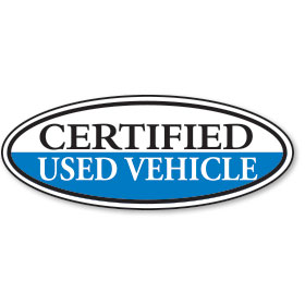 Certified Used Vehicle Oval Stickers - Blue & White