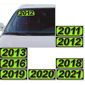 Bright Car Model Year Stickers - Chartreuse & Black