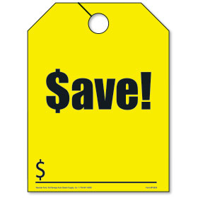 Yellow SAVE Fluorescent Rear View Mirror Tags
