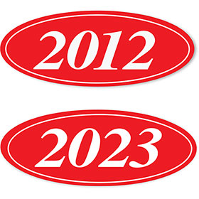 4 Digit Red and White Oval Year Stickers