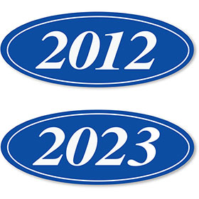 4-Digit Oval Car Year Stickers - Blue & White