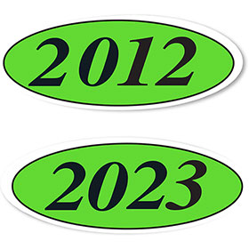 Oval Car Year Stickers - Black & Chartreuse