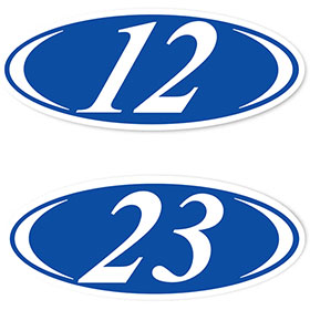 2-Digit Oval Car Year Stickers - Blue