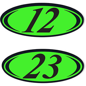 2-Digit Oval Car Year Stickers - Black & Chartreuse