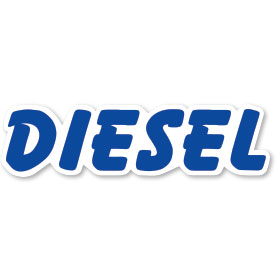Diesel - Blue and White Peel and Stick Designer Cut Slogans