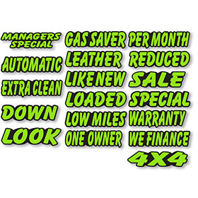 Designer Cut Peel & Sticker Windshield Slogans - Chartreuse & Black
