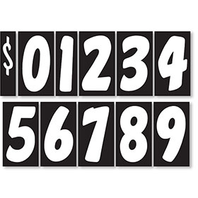 Black and White 7 1/2 inch Peel & Stick Windshield Number Kit