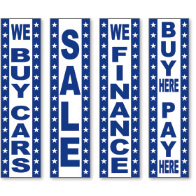 Blue and White Vertical Message Sign