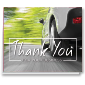 Thank you Card-White Car on Road (100)