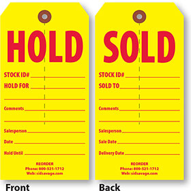 Vertical Sold-Hold Tags (500)