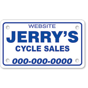 "Personalized 1 Color Motorcycle Plate Inserts (7"" x 4"")"