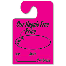 Fluorescent Pink Hook Mirror Tag - Our Haggle Free Price
