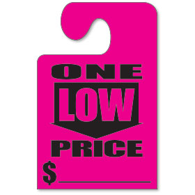 One Low Price Mirror Tags with Hook - Fluorescent Pink