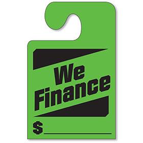 Fluorescent Green Hook Mirror Tag - We Finance