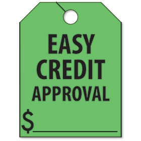Easy Credit Approval Mirror Hang Tags - Fluorescent Green