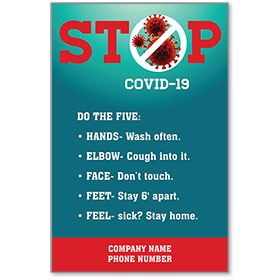 """STOP COVID-19 Do the Five Personalized Poster 13"""" x 19"""""""