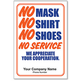 """No Mask No Service Personalized Poster 13"""" x 19"""""""