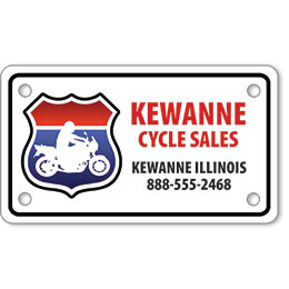 "Motorcycle Message Plates (4"" x 7"") Custom Template"