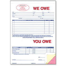 Custom Imprinted We Owe/You Owe Forms