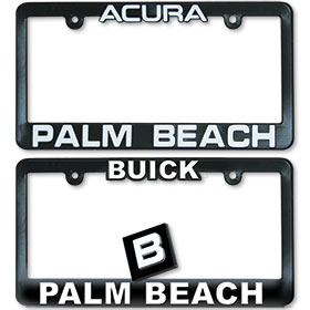 Imprinted 3D Raised Letter Dealer License Plate Frames - Black & White