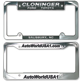 Custom Imprinted Chrome Plated Plastic Dealer License Plate Frames - Design 1