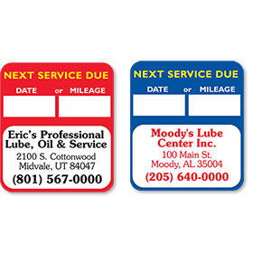 Custom Oil Change Stickers Oil Change Reminders Oil