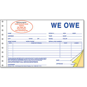 Custom Imprinted We Owe Forms