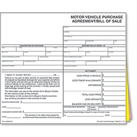 Dealer Bill of Sale Forms Style 1