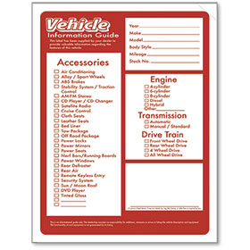 Red Vehicle Information Stickers