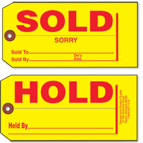 Small Hold and Sold Tags