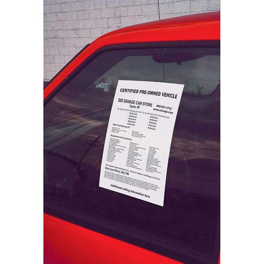 photo regarding Printable Window Sticker identified as Blank White Car or truck Information and facts Window Stickers (50)