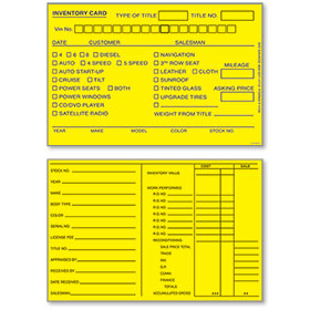 "Auto Inventory Cards 4"" x 6"" Yellow"