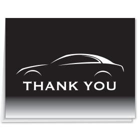 Thank You Card-Black & White Car